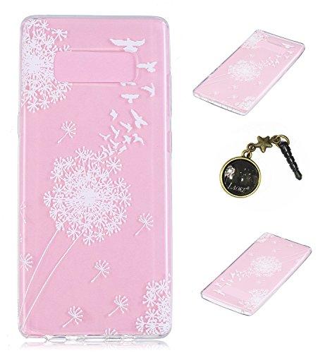 Ultradünne transparente Hülle für Samsung Galaxy Note 8 Hülle Schutzhülle Handy TPU Silikon Hülle Case Cover Durchsichtig Gel Tasche Bumper ( + Stöpsel Staubschutz) (4)