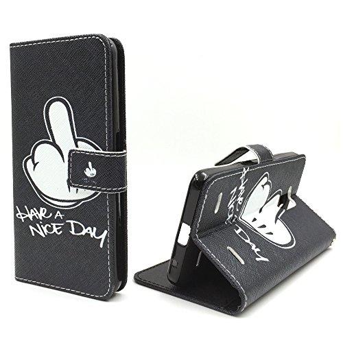 König-Shop Handy Tasche für Apple iPhone 6 / 6s Flip Cover Case Schutz Hülle Etui Motiv Wallet, Farbe:Don't touch my Phone Bär Have a Nice Day Mittelfinger