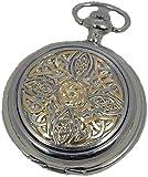 A E Williams 4955TT Celtic mens quartz pocket watch with chain