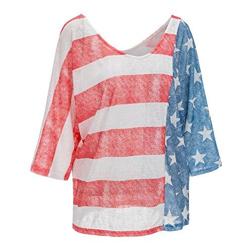 Minetom Damen Sommer Beiläufige Halbe Ärmel T-shirt Frauen Lässig Lose Nationalflagge Drucken Gestreifte Spleißen Tops Blouse Oberteile Mehrfarbig