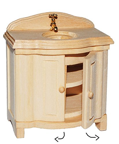 Waschschrank mit Waschbecken - aus Holz - Miniatur für Puppenstube - Maßstab 1:12 - Türen lassen sich öffnen - Puppenhaus Puppenhausmöbel - Badezimmer Badezimmerschrank / Schrank - Waschschale Waschtisch - Badmöbel Bad
