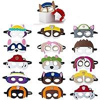 MIANRUII Paw Dog Patrol Masks Party Supplies for Kid (16 Packs) Felt and Elastic - Favores de Fiesta de cumpleaños de Paw Dog Patrol con 16 Tipos Diferentes niños