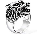 Männer Herrschsüchtig Vereist Wolf Kopf Game of Thrones Rock Ringe Im Rostfreier Stahl,Silber,Größe 57 (18.1)