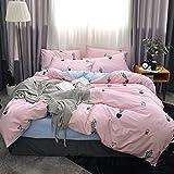 100% Algodón 4 Piezas 1 Funda de edredón 1 Sábana ajustable 2 Funda de almohada de 1,8 m de edredón de cama de 1,5 m Dormitorio de estudiantes de viento de princesa Ropa de cama individual doble cómoda y transpirable Con paquete de caja de regalo para regalo de Navidad