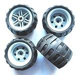 LEGO TECHNIC - 4 Räder mit 43,2x26 Ballonreifen mit Felge in grau für Technik - Sets - 56145 / 61481