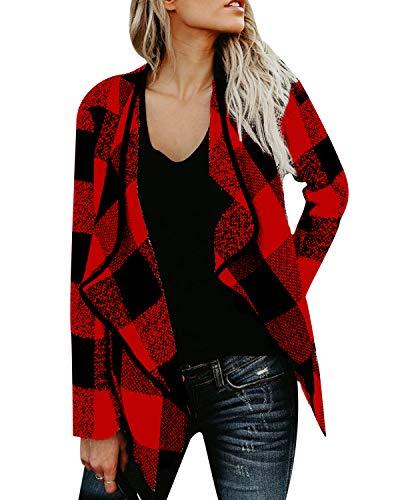 ACHIOOWA Jacke Damen Casual Kariert Revers Übergangsjacke Kurze Sweatjacke Cardigan mit Taschen Rot-A03889 L (Übergröße Urlaub Kostüm Frauen)