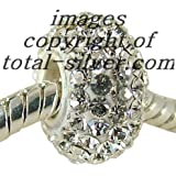 Swarovski Crystal Charm Bead for slide on Bracelets - fits Pandora, Troll etc - White Crystal