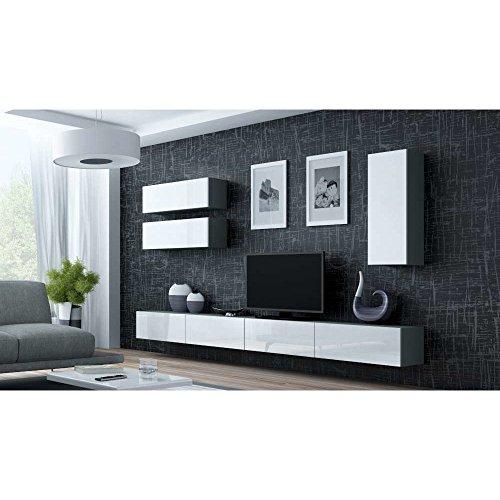 JUSThome Vigo XIII Wohnwand Anbauwand Schrankwand Grau Matt | Weiß Hochglanz