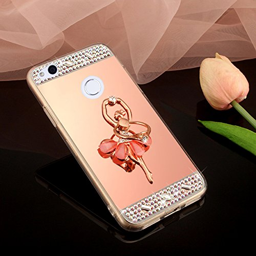 Coque Huawei P8 Lite 2017, Miroir Housse Coque Silicone TPU pour Huawei P8 Lite 2017, Surakey [Ballerine fille 360 Rotation Bague bâton support] Elegant Cool Bling Briller étincellement Coloré Diamond Rose Or Coque Effet Miroir Etui TPU Téléphone Coque Coquille de protection Flex Soft Gel en Caoutchouc Bumper Shockproof Anti Scratch Housse Rigid Back Cover pour Huawei P8 Lite 2017, Or Rose