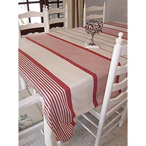 Tovaglia in lino francese bedcover slipcover-Coperta copridivano grande fouta rosso & ecru 1,9 x 3 m 30% linen handfringed 70% cotone