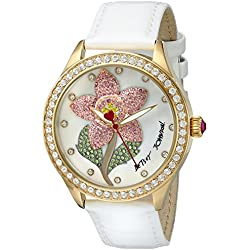 Betsey Johnson Women's Quartz Metal and Leather Automatic Watch, Color:White (Model: BJ00517-01)