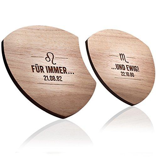 schenkYOU® AMOR SHIELD - Individuelles Untersetzer Set aus Holz - Glasuntersetzer mit eigenem Wunschtext als Unikat-Gravur