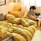 TAYIBO Quilt Doppelbett,Winter verdickt Korallensamt vierteiliger Anzug, warme Laken, Kristall Samt @ Yellow_1.5mbed,Duvet Bettbezug Doppelbett Bettwäsche
