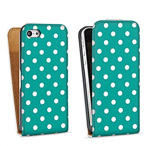 Apple iPhone 5s Housse Étui Protection Coque Petits points Turquoise Motif Sac Downflip blanc