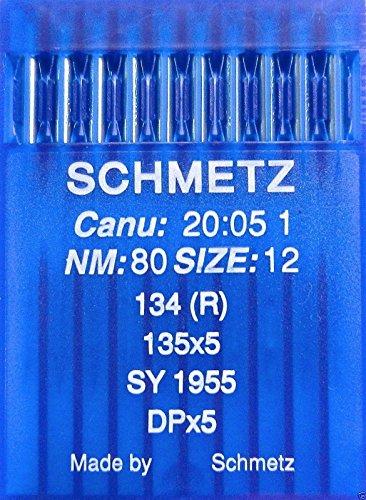 Industrie-nähmaschine (10 Schmetz Rundkolben Nähmaschinen Nadeln System 134 (R) Industrie St. 80)