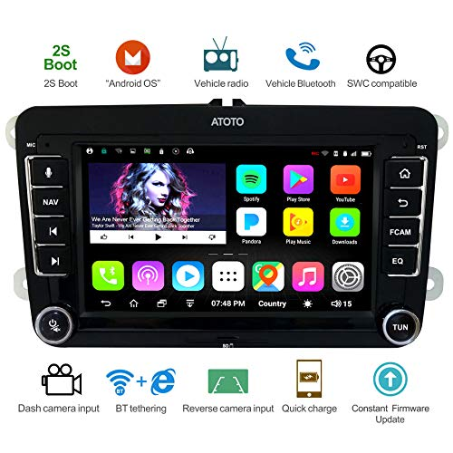 ATOTO A6 Android Auto Navigation Stereo - Dual Bluetooth &Schnellladung - für ausgewählten Volkswagen/VW - Premium A6YVW710PB 1G/16G Indash Unterhaltung Multimedia Radio,WiFi/BT Tethering Internet