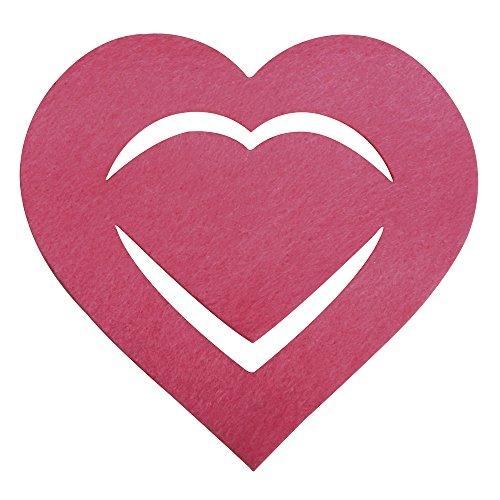 Rayher 53568264 Filz Manschette für Servietten Herz, 10,5x10x0,2cm, SB-Btl 6Stück, pink - 568 Sb
