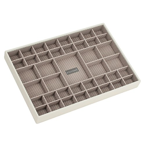 stackers-vanilla-cream-supersize-41-section-stacker-jewellery-box-with-mocha-spot-lining