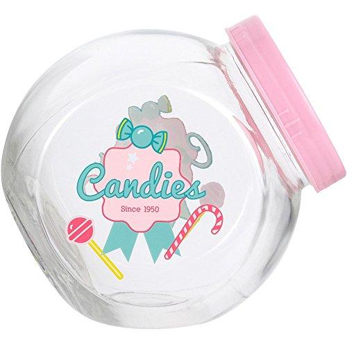 Amatable 38-1K-040 Bocal hermétique à bonbons ou gâteaux Candies Transparent et rose Verre et plastique H16 x 11,5 x 15,5 cm