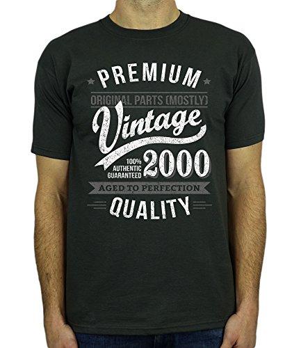 2000 Vintage Year - Aged To Perfection - 18 Ans Anniversaire T-Shirt pour Homme Gris M