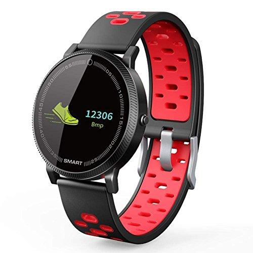 OOLIFENG Pulsera Inteligente Fitness Tracker Reloj Actividad Tracker Pulsómetros De Muñeca para iPhone Android,Red
