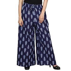 Jaipur Classic Cotton Slub Premium Printed Palazzo Pants for Women Girls | Blue 1
