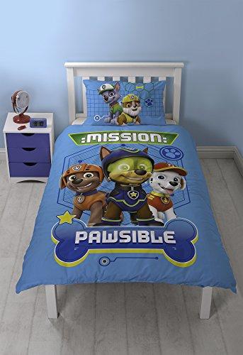 Paw Patrol Mission Pawsible Bettbezug-Set mit Skye, Marshall, Rubble und Everest, beidseitig verwendbar, mit passendem Kissenbezug, aus Polyester-Baumwolle, Blau, für Einzelbett -