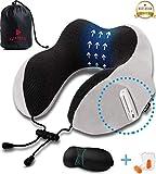 Luamex - Nackenkissen - Nackenhörnchen - Silverfox Soft Fleece 100% Memory Foam - Reisekissen - Nackenstütze - inkl. Schlafmaske und Ohrstöpsel