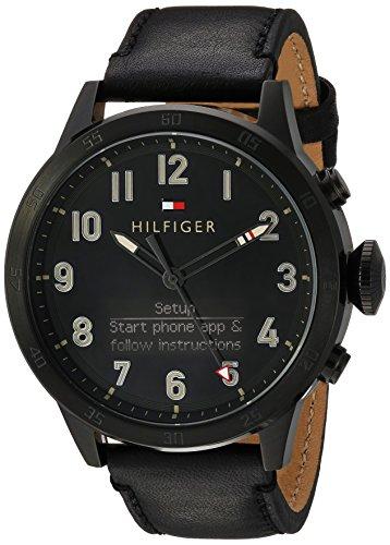 Tommy Hilfiger hombres de 'th 24/7de cuarzo resina y piel reloj inteligente, color: negro (modelo: 1791301)