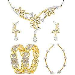 Jewels Galaxy Exclusive AAA Stone 1 Pair Of AD Bangles, 1 Pair Of Solitaire Earcuff, 1 Floral American Diamond Mangalsutra Set (Pack Of 7)