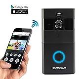 Homscam vidéo Sonnette de porte sans fil Wi-Fi cloches avec détecteur de mouvement Audio Bidirectionnelle et vision de nuit (Intégré carte 8g)