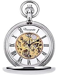 TREEWETO - Reloj de bolsillo con esfera de esqueleto, color plateado y caja de regalo