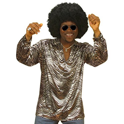 NET TOYS 70 Jahre Disco Hemd Discohemd Partyhemd Party Fasching Karneval silber 70er Jahre Mode XL 54/56