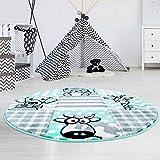 MyShop24h Kinderteppich Hochwertig mit Karo-Muster, Tieren/Hund, Katze, Kuh, Giraffe in Pastell-Türkis mit Konturenschnitt, Glanzgarn für Kinderzimmer, Größe in cm:160 x 160 cm rund