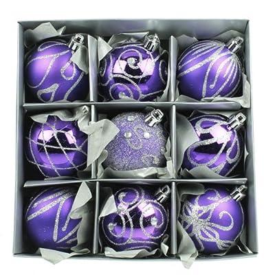 Set of Nine Purple Christmas Tree Baubles