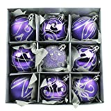 Set of Nine Purple Christmas Tree Baubles (6cm) by Christmas Direct