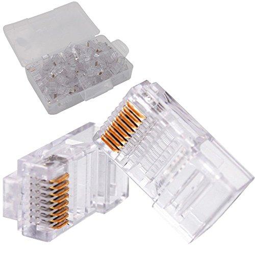 KINYOOO verkupfert rj45 Kabelstecker 8p8c super fünf Netzwerk Kristall Kopf, Rj45 modulare Stecker für gestrandete UTP Kabel Schaffung ungeschirmt Kristall Kopf 100-Pack.