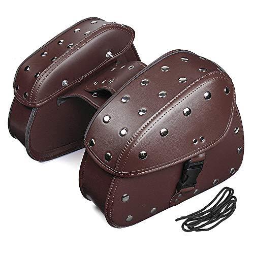 Preisvergleich Produktbild JenNiFer Paar-Back-Schwarz Universal Pu Leder Motorrad Tool Tasche Satteltaschen Saddlebags - Braun