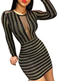 Damen Glitzernd Sheer Mesh Insert Bodycon Kleid Dunkelblond S
