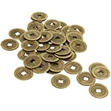 Rare 50 Pieces Zinc Alloy Chinese Ancient Feng Shui I Ching Coins Souvenir Lucky Money 0.98inch