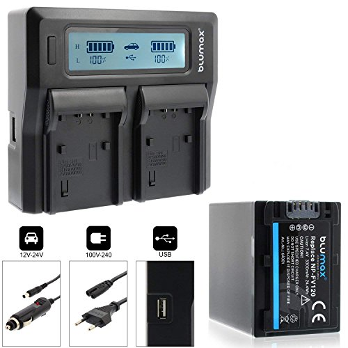 Blumax Akku NP-FV120 3300mAh + Doppelladegerät NP-FV120 Dual Charger   Passend zu Diversen Sony Kameramodellen   2 Akkus gleichzeitig Laden