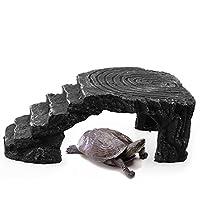 Rejoicing Tortoise - Escalera para plataforma de cazo, esquina, rampa de ramillete, plataforma de hábitat, reptil, cueva, acuario, pecera, adorno