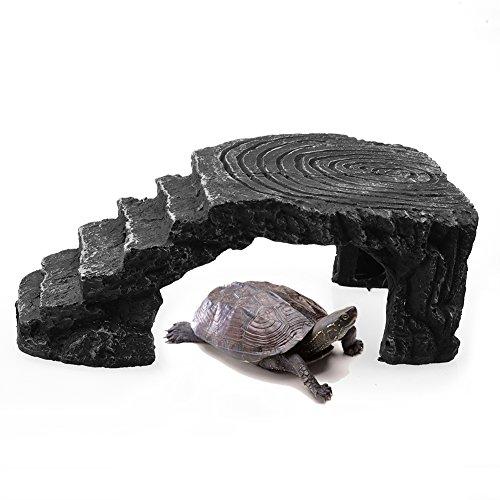 Freude Schildkröte Basking Plattform Leiter Ecke Rampe Schildkröte Lebensraum Plattform Reptile Hideaway Cave Aquarium Fisch Tank ornament (Hideaway Ornament)