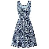 MRULIC Mädchen und Damen Prinzessin Kleid Sommer Ball Kleid Strand Sommerkleid(C-Blau,EU-40/CN-L)