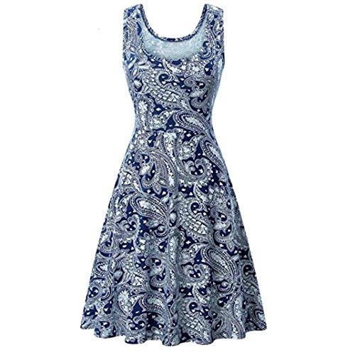 Damen Prinzessin Kleid Sommer Ball Kleid Strand Sommerkleid(C-Blau,EU-40/CN-L) (Billig Prinzessin Kleider)