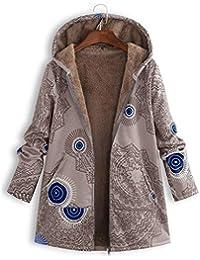 ReooLy - Abrigos de Gran tamaño Vintage con Bolsillos con Capucha y Estampado de Invierno para Mujer