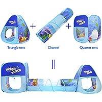 Tienda de campaña para niños plegable, formada por 2 * Pop-up castillos y un túnel con estilo océano