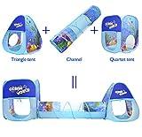 Tienda de campaña para niños plegable, formada por 2 * Pop-up castillos y un túnel con estil...
