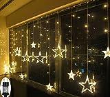 LED Lichterkette Sterne für Weihnachten Innen Fenster mit Timer Fernbedienung 31V Lichterketten Warmweiß 8 Modi Weihnachtsbeleuchtung Außen Dekoration IP44 Lichtervorhang 2,2Mx1M