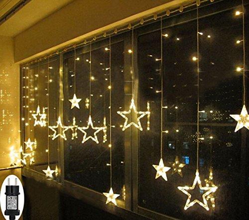 (LED Lichterkette Sterne für Weihnachten Innen Fenster mit Timer Fernbedienung 31V Lichterketten Warmweiß 8 Modi Weihnachtsbeleuchtung Außen Dekoration IP44 Lichtervorhang 2,2Mx1M)